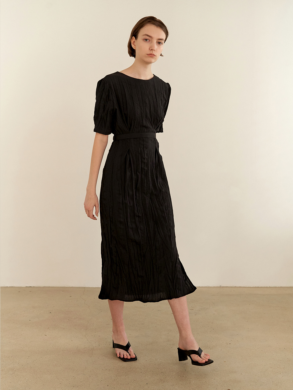 [7/7순차배송] Wrinkle reversible dress - black
