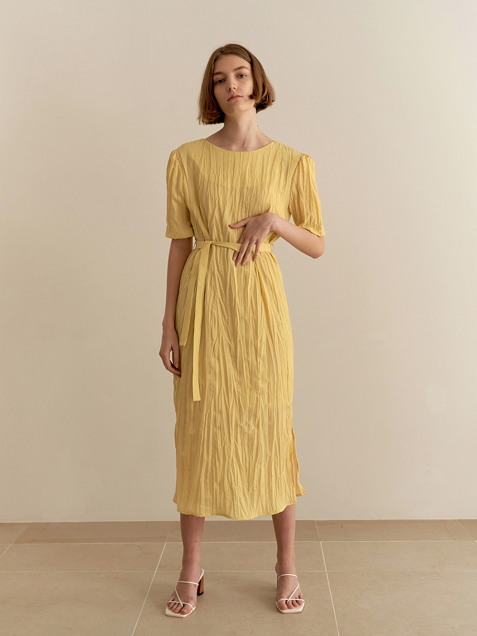 [7/7순차배송] Wrinkle reversible dress - yellow