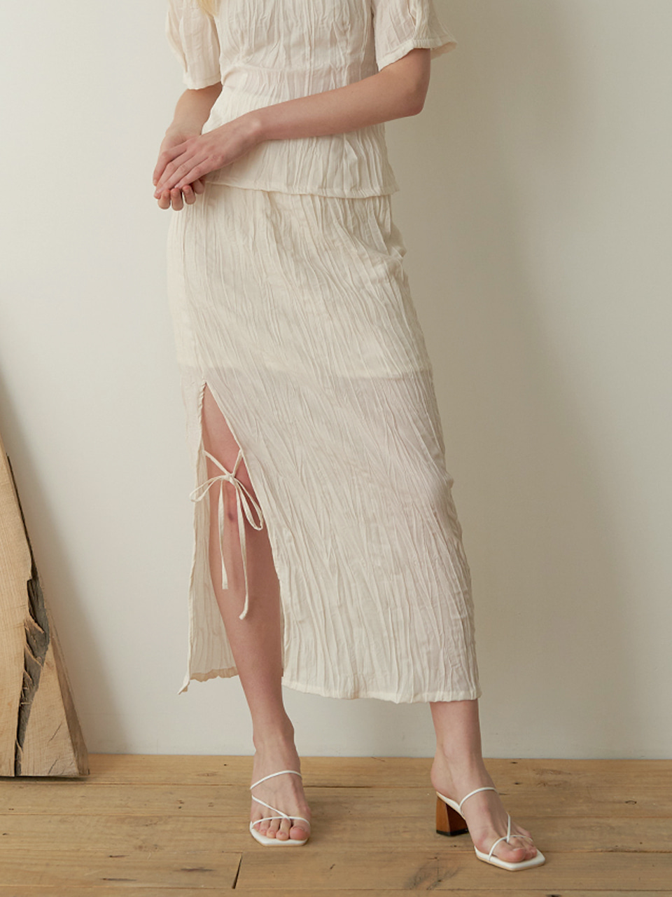String slit skirt - Beige