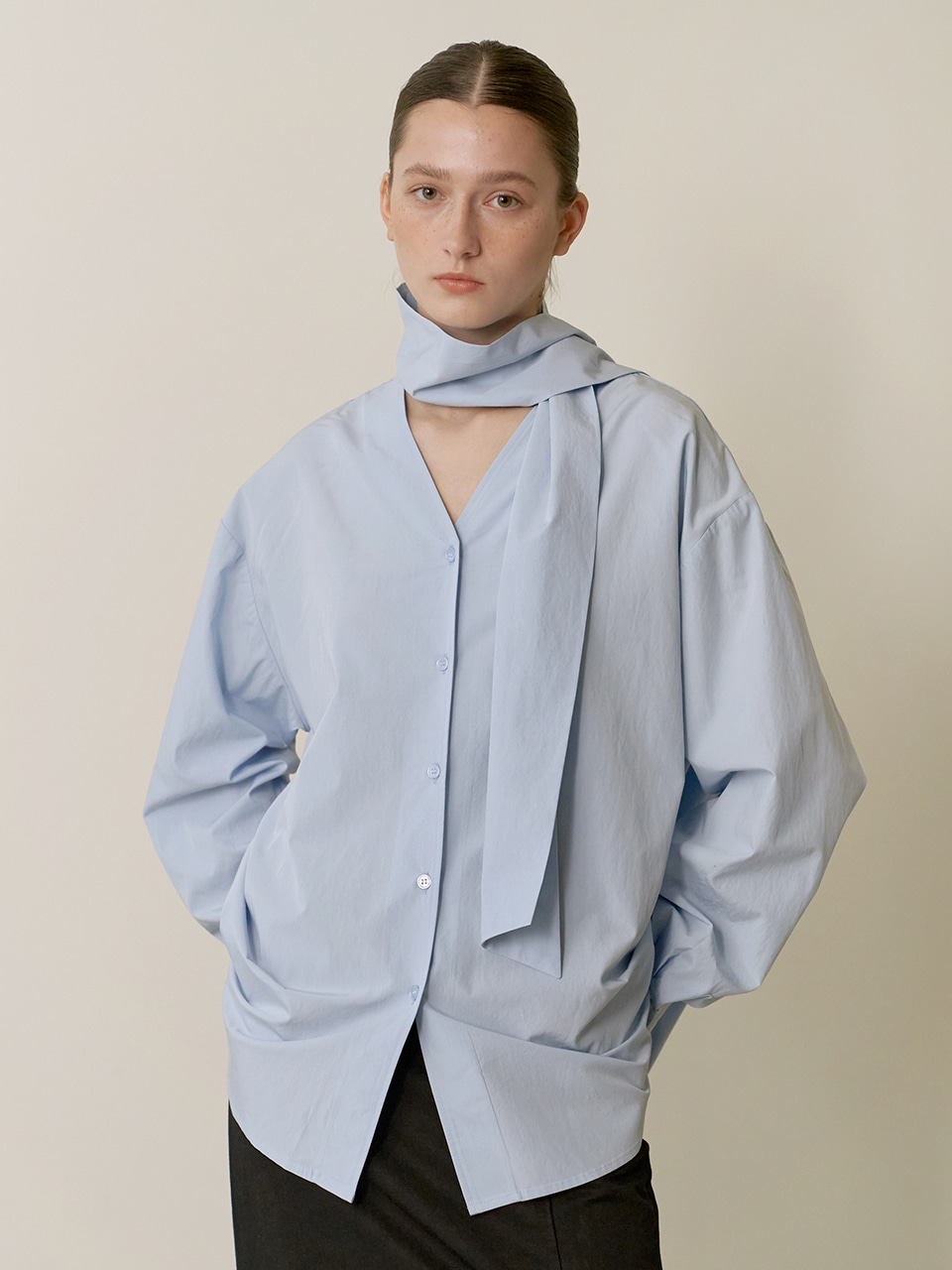 Reversible scarf blouse - Blue