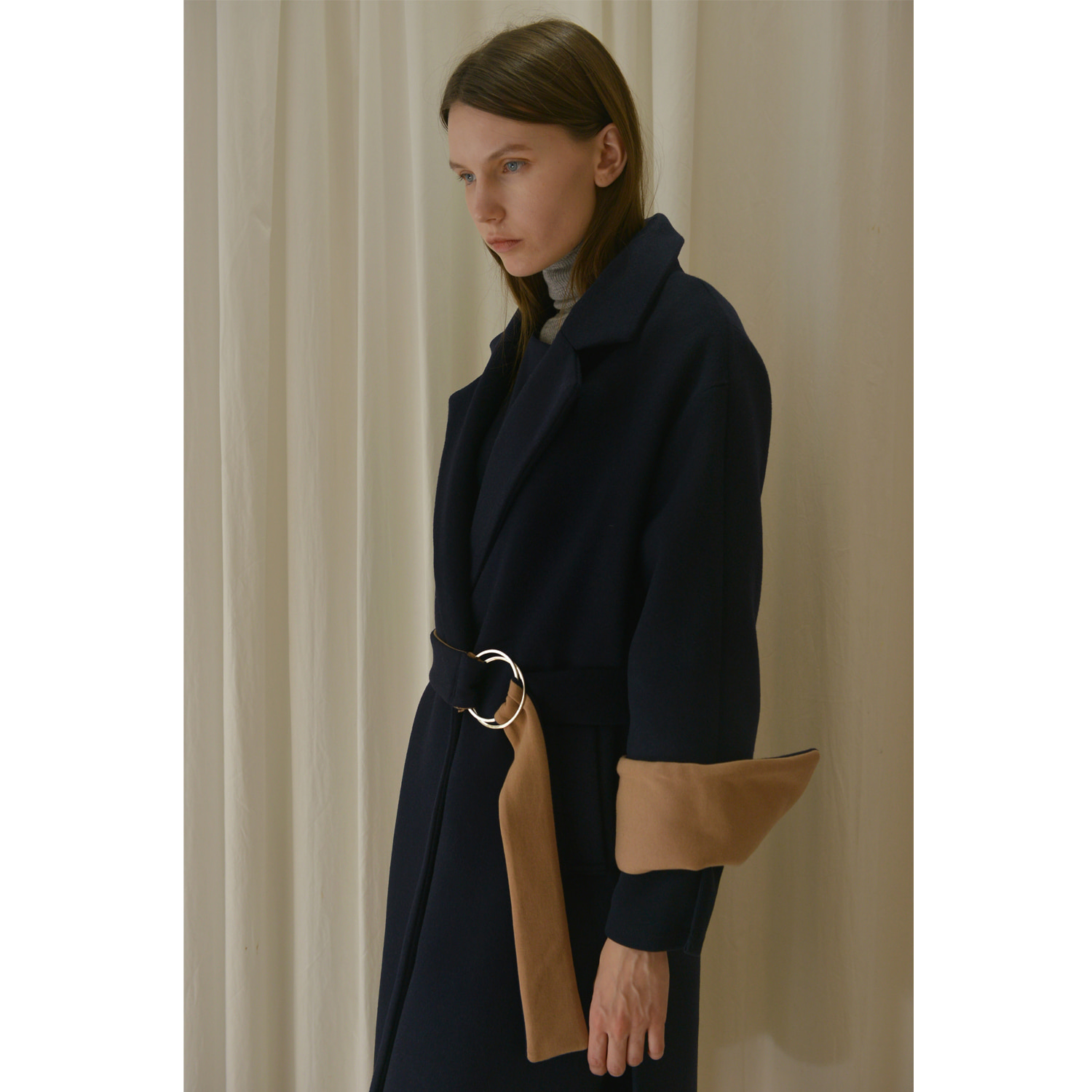 Belt Doulde Coat -Navy