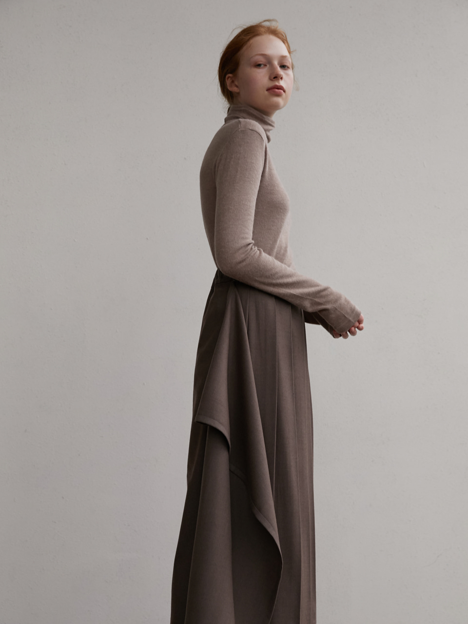 Three-way pleats skirt - Brown