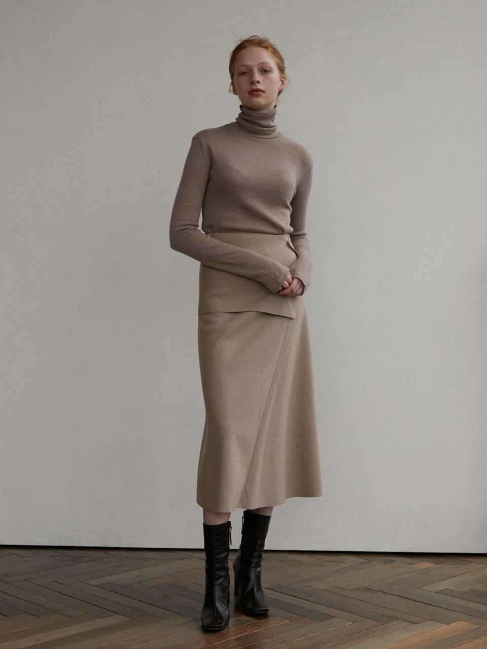 Wool panel skirt - Beige