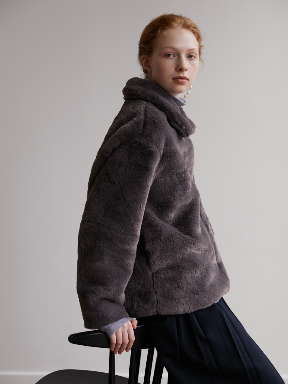 Eco fur jacket - Gray