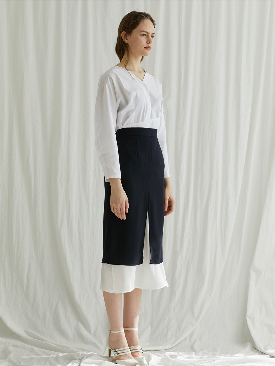 Simply layered skirt - Navy