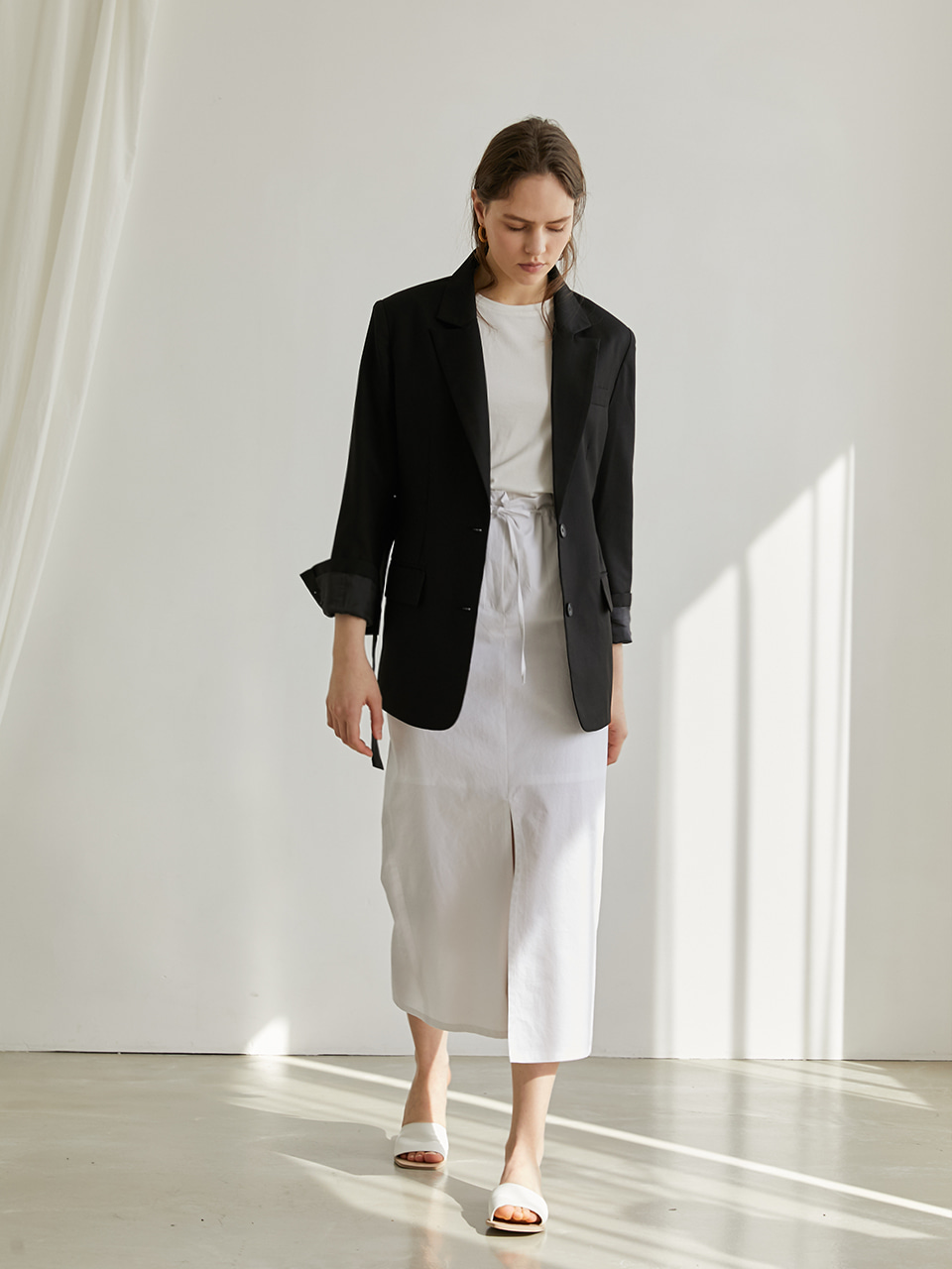 Modern belted jacket - Black