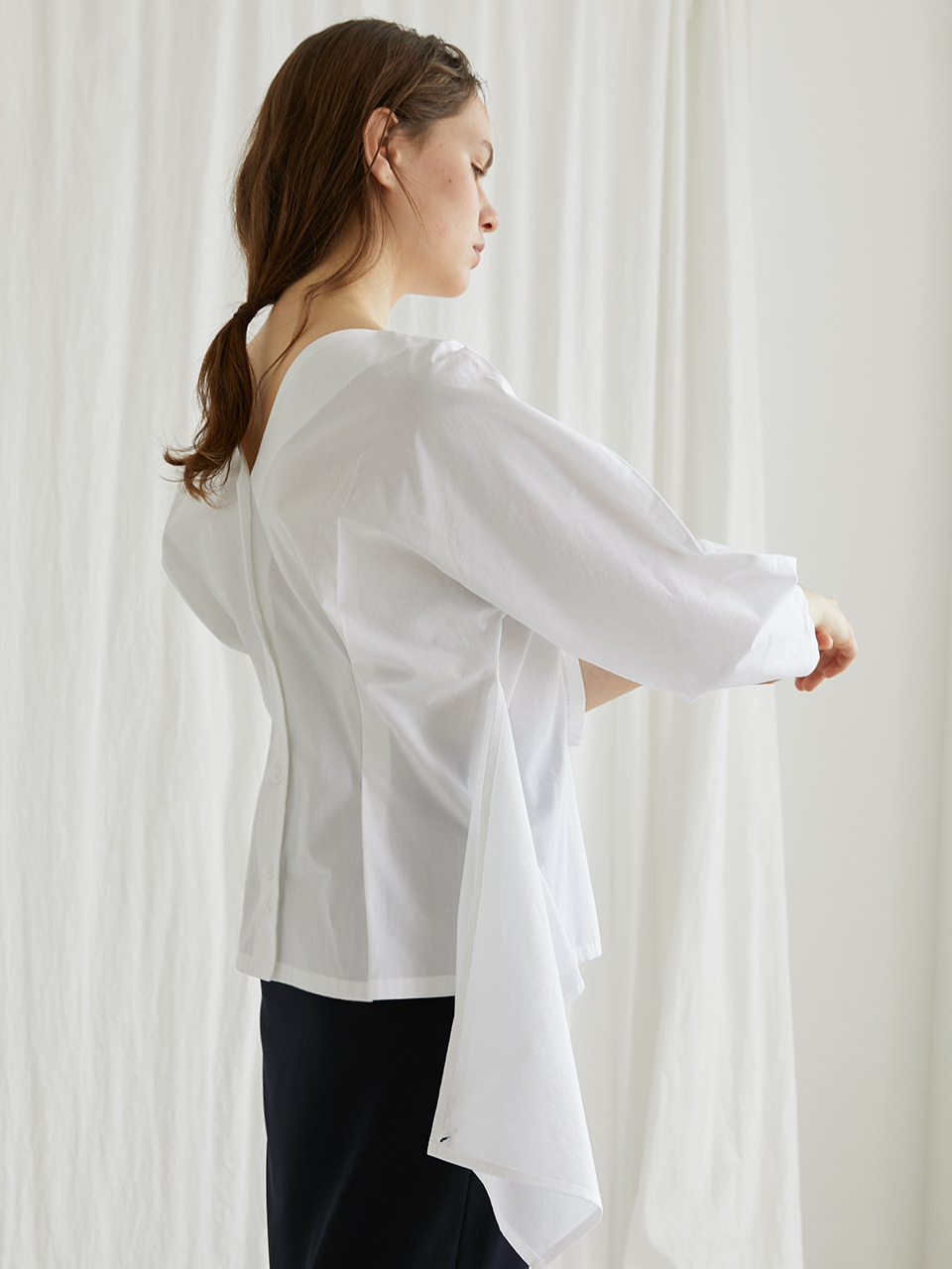 Reversible panel shirt - White