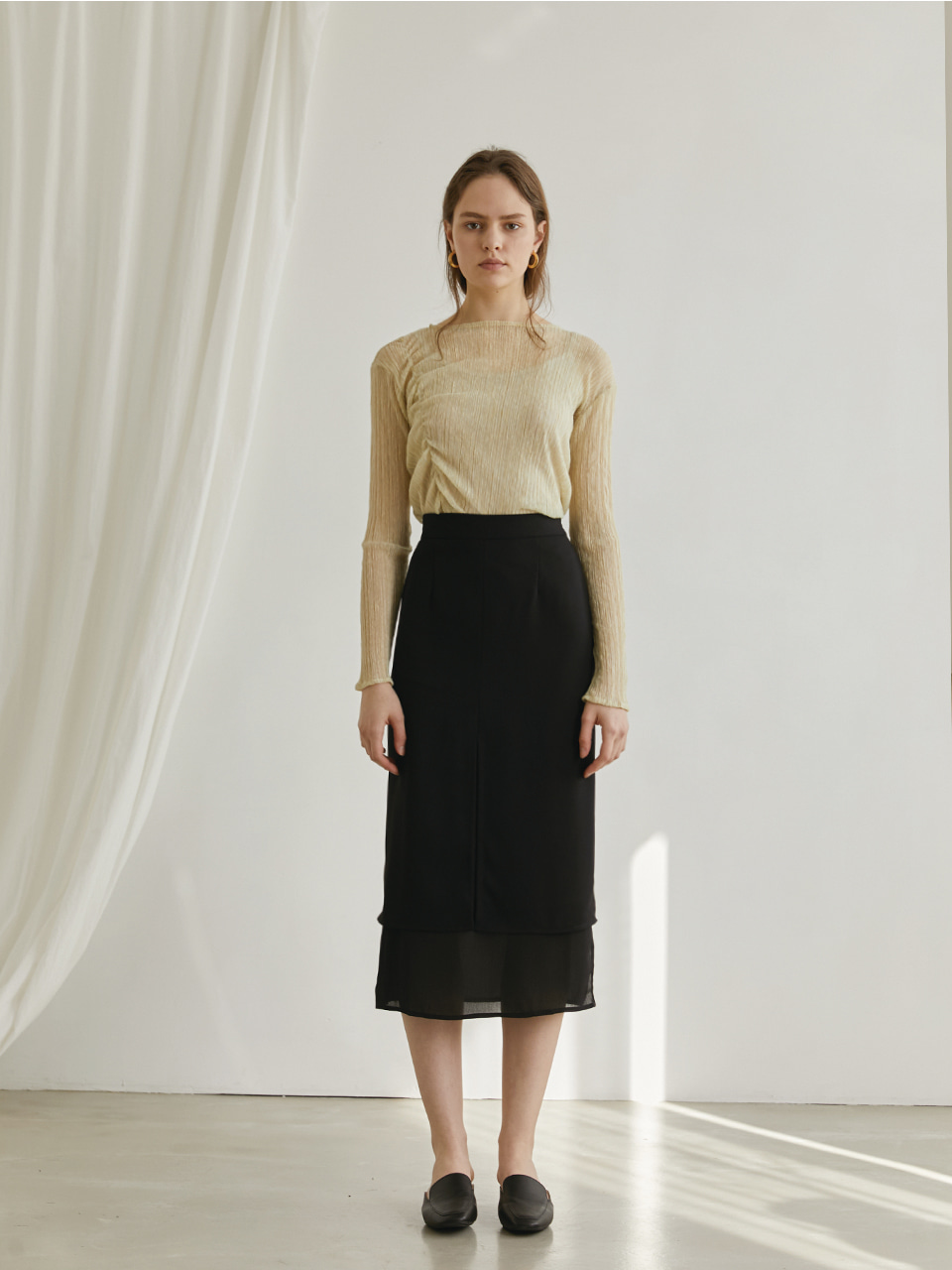 Simply layered skirt - Black