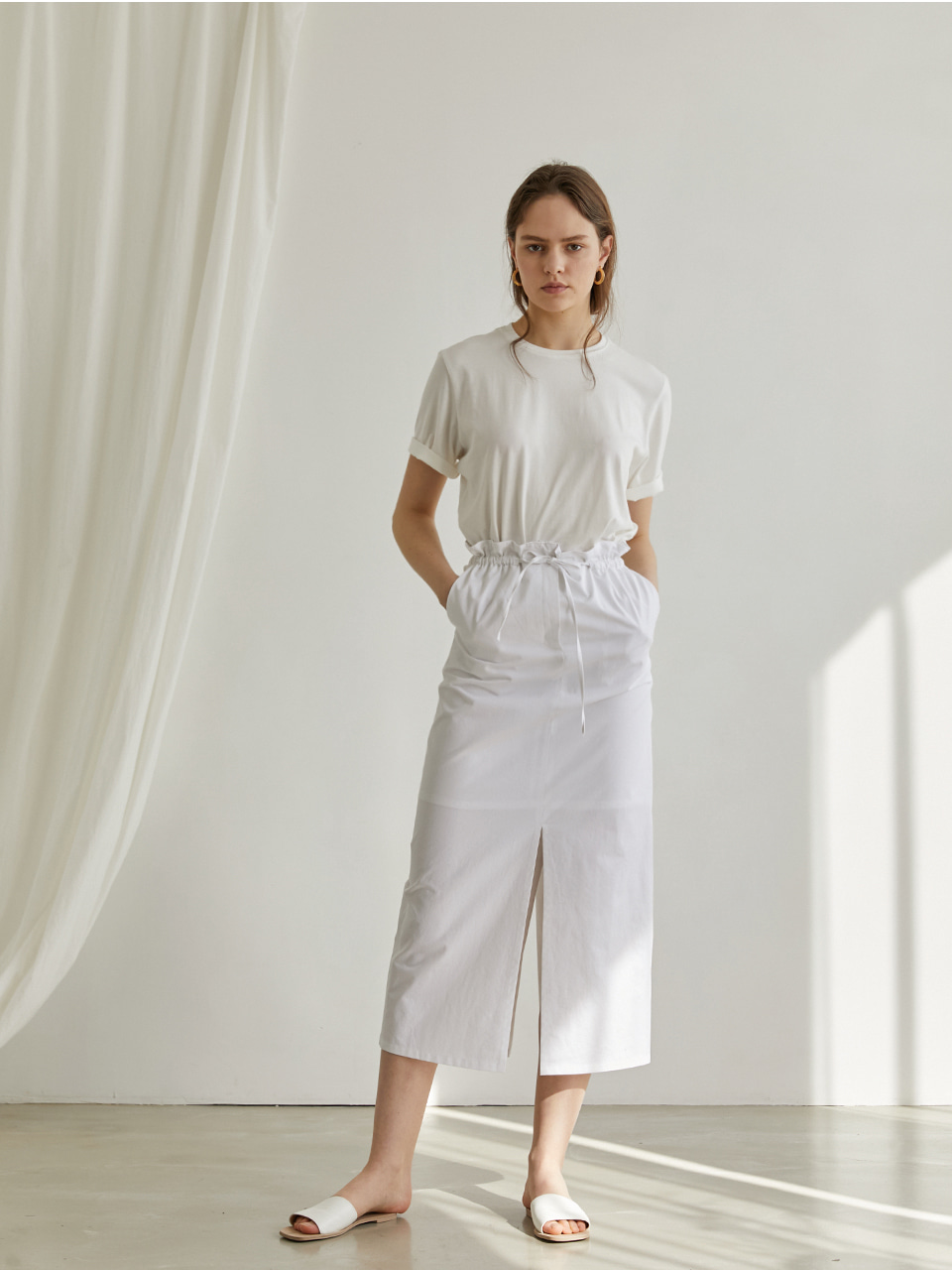 Cotton shirring skirt - White