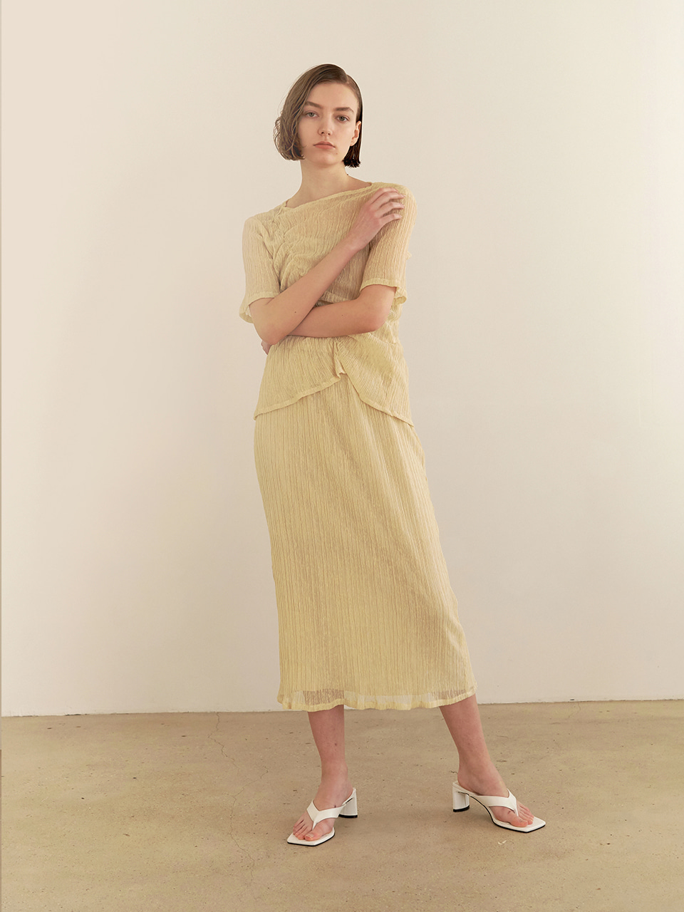 Soft wrinkle skirt-yellow