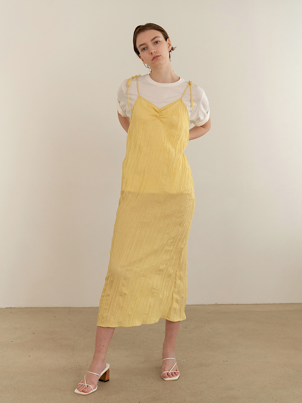 Resort wrinkle dress - yellow