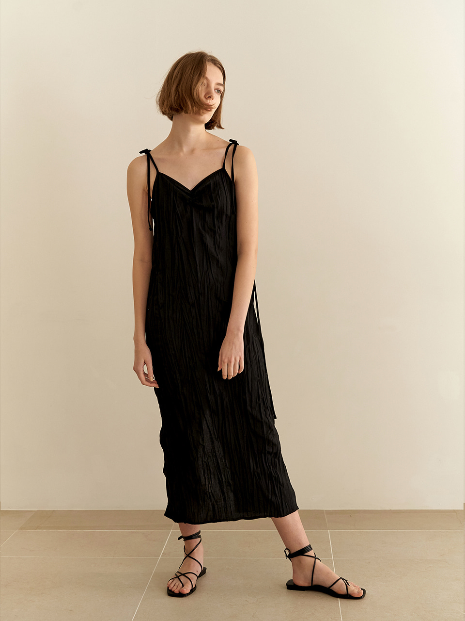 [7/10순차배송] Resort wrinkle dress - black