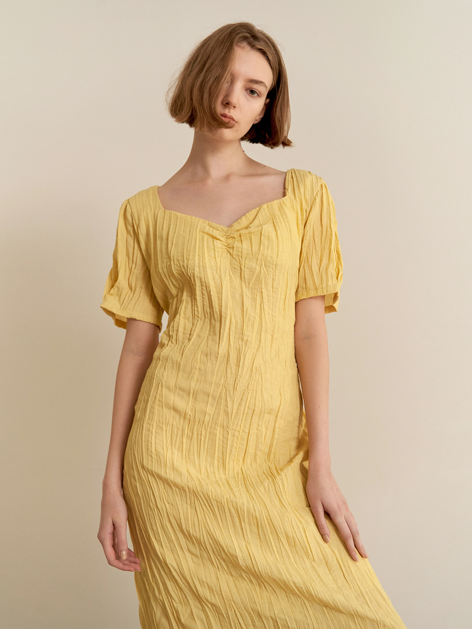 Halfmoon shirring dress - yellow