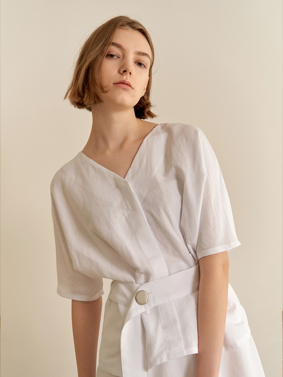 Reversible linen blouse-white