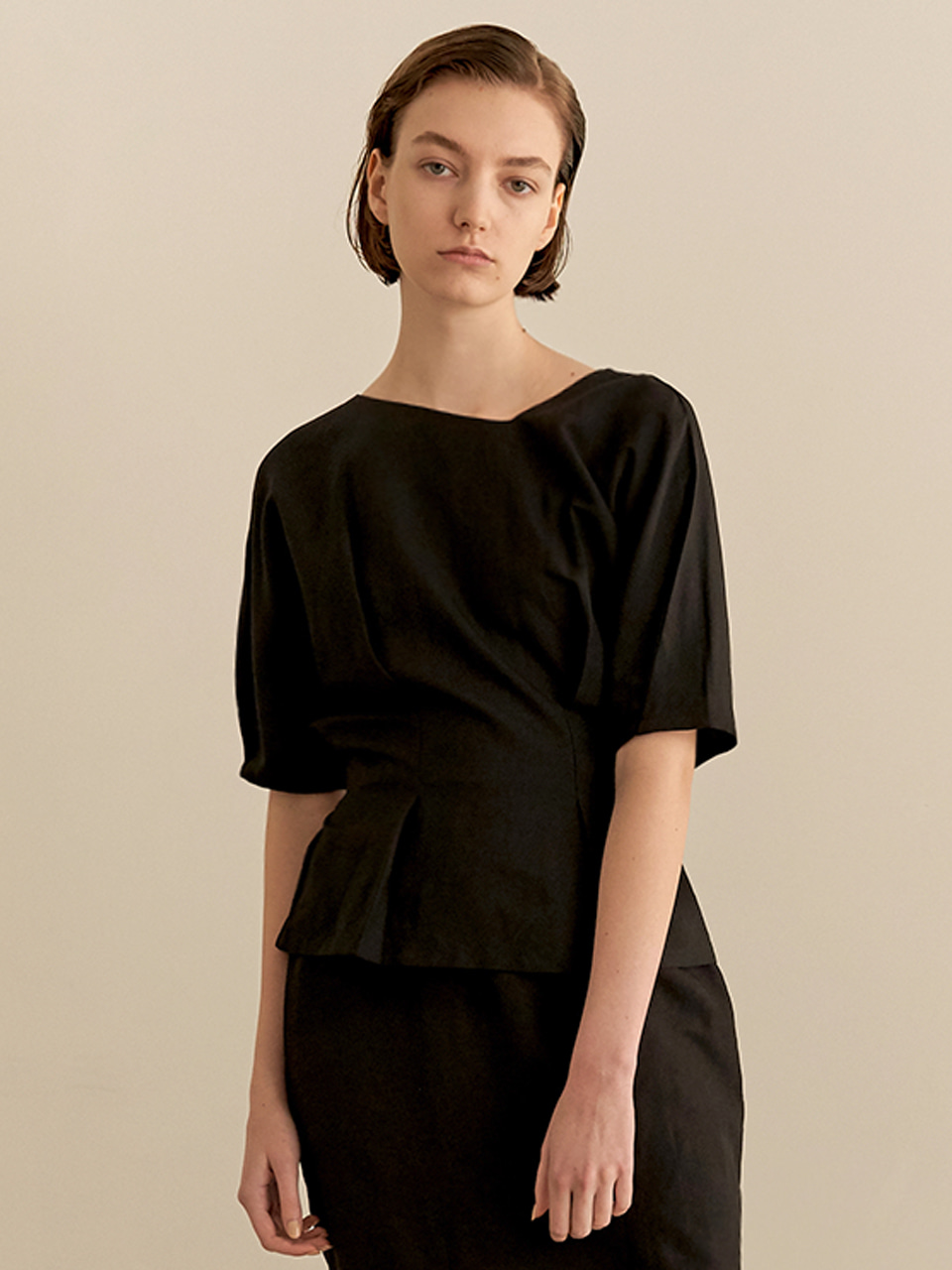 Reversible linen blouse-black