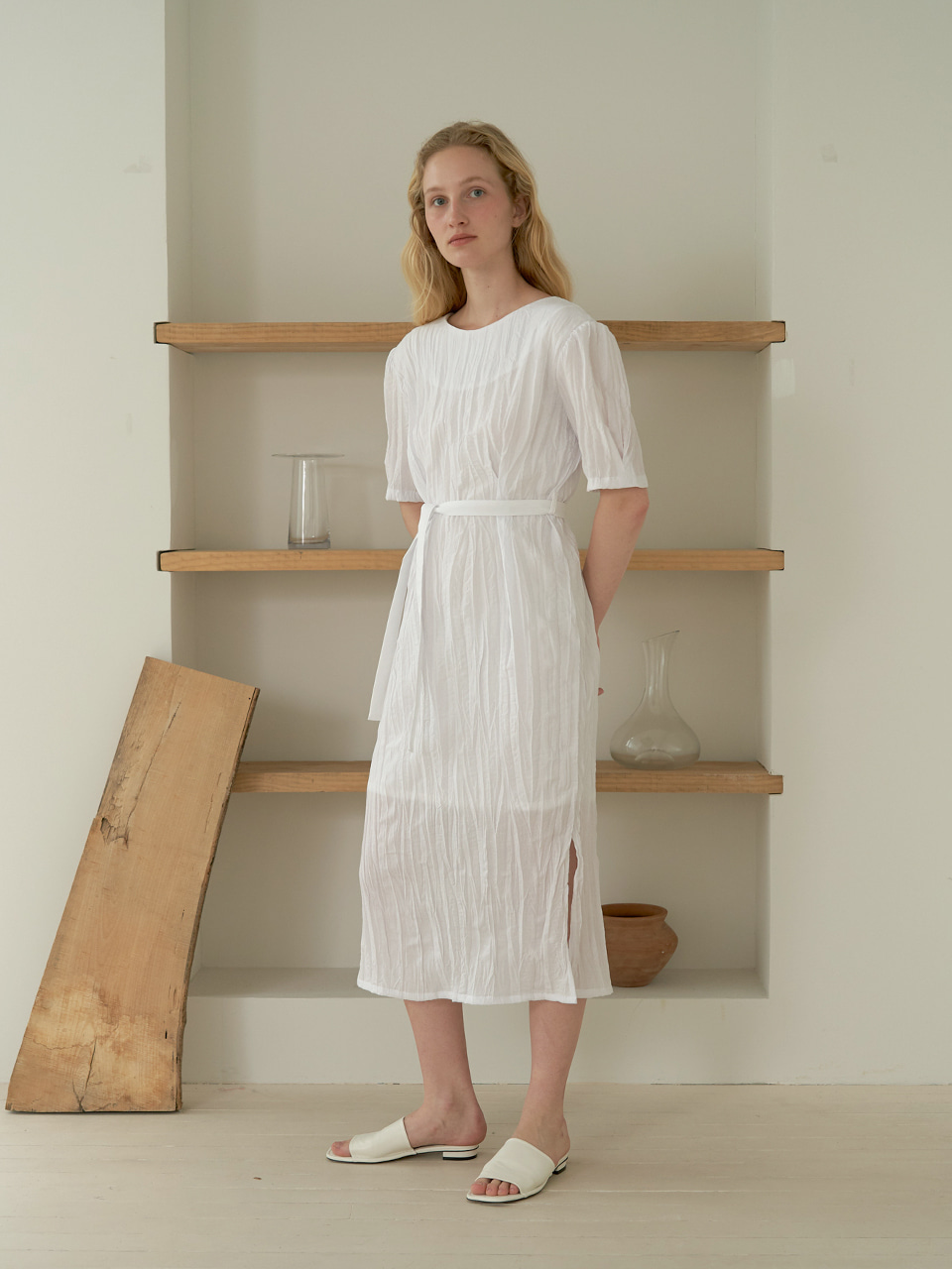 Wrinkle reversible dress - white