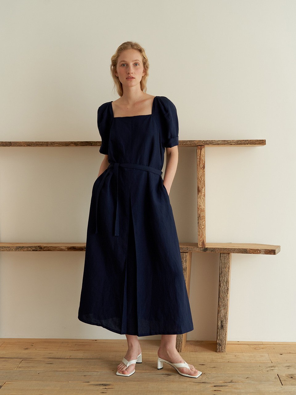 Square Linen dress - Navy