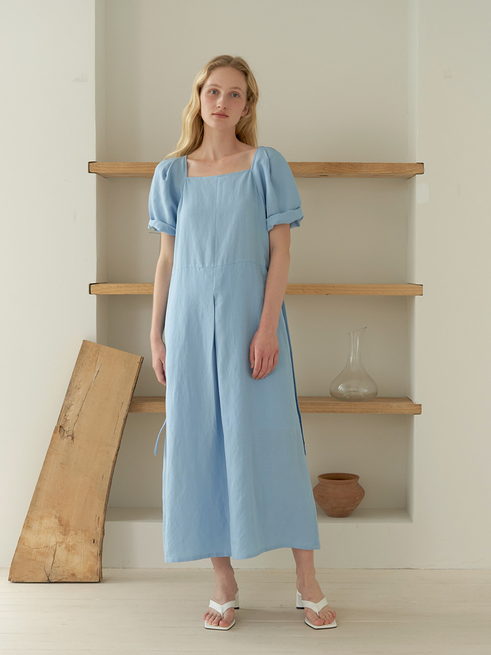 Square Linen dress - Blue