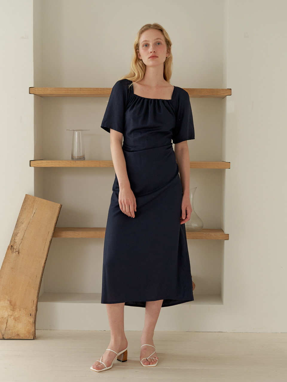 Puff shirring dress - Navy
