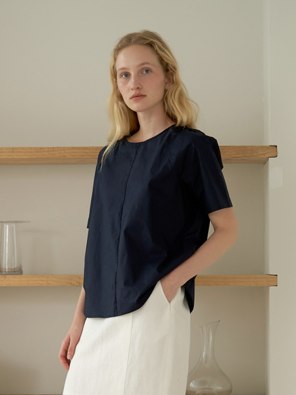 Round cotton blouse - Navy