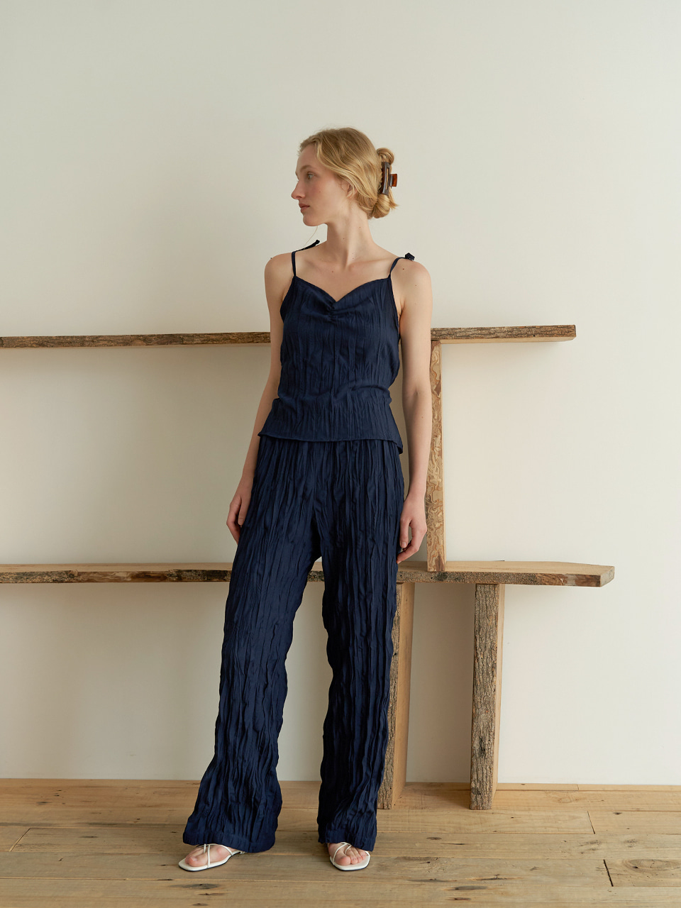 String wrinkle sleeveless - Navy