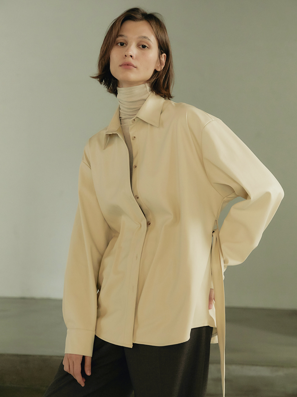 Eco-lather shirt jacket - Cream