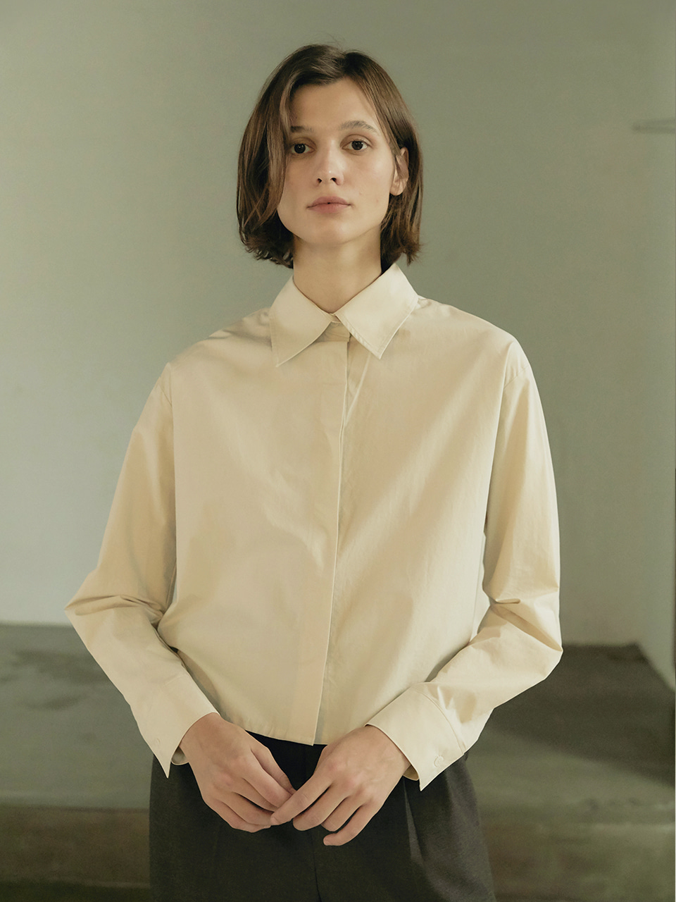 Crop cotton shirt - Cream
