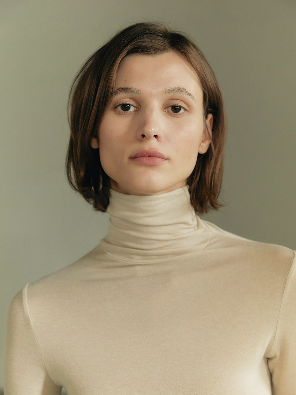 Tencel turtleneck - Cream