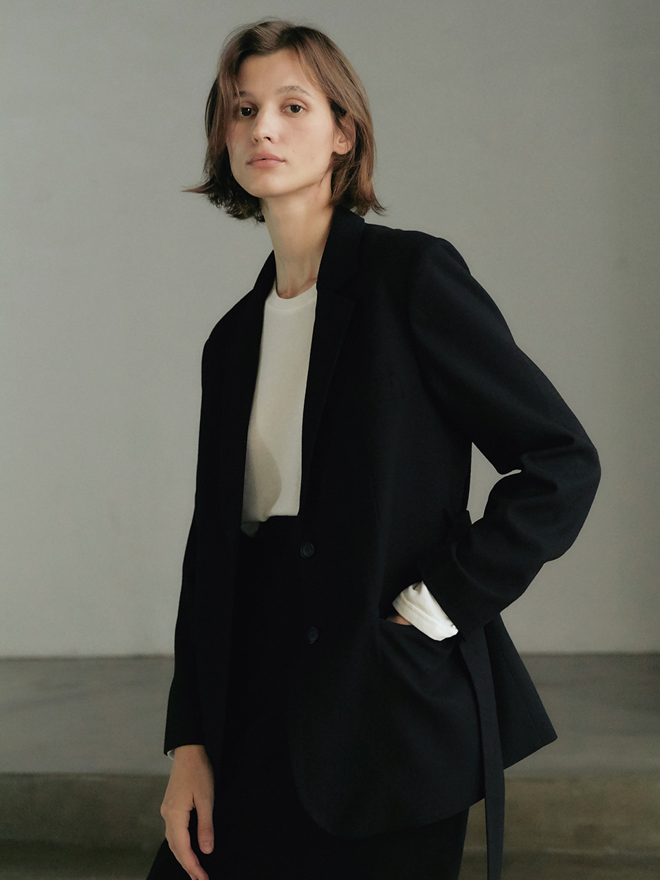 Twill wool Jacket - Black