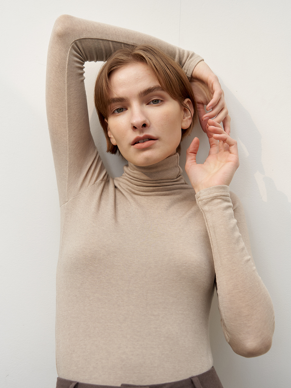 Wool tencel turtleneck - Beige