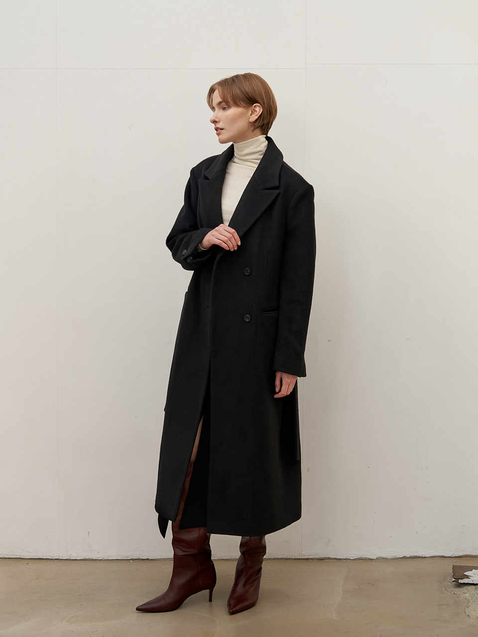 Button wool coat - Black
