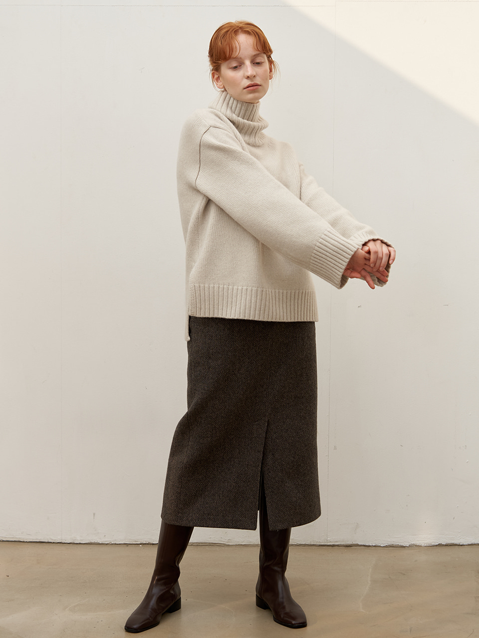 Cashmere turtleneck - Light melange
