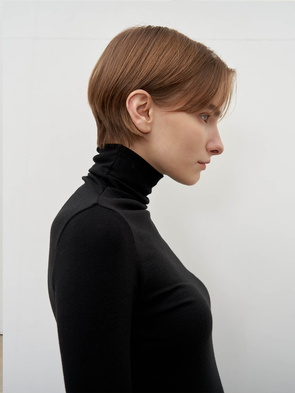 Wool tencel turtleneck - Black
