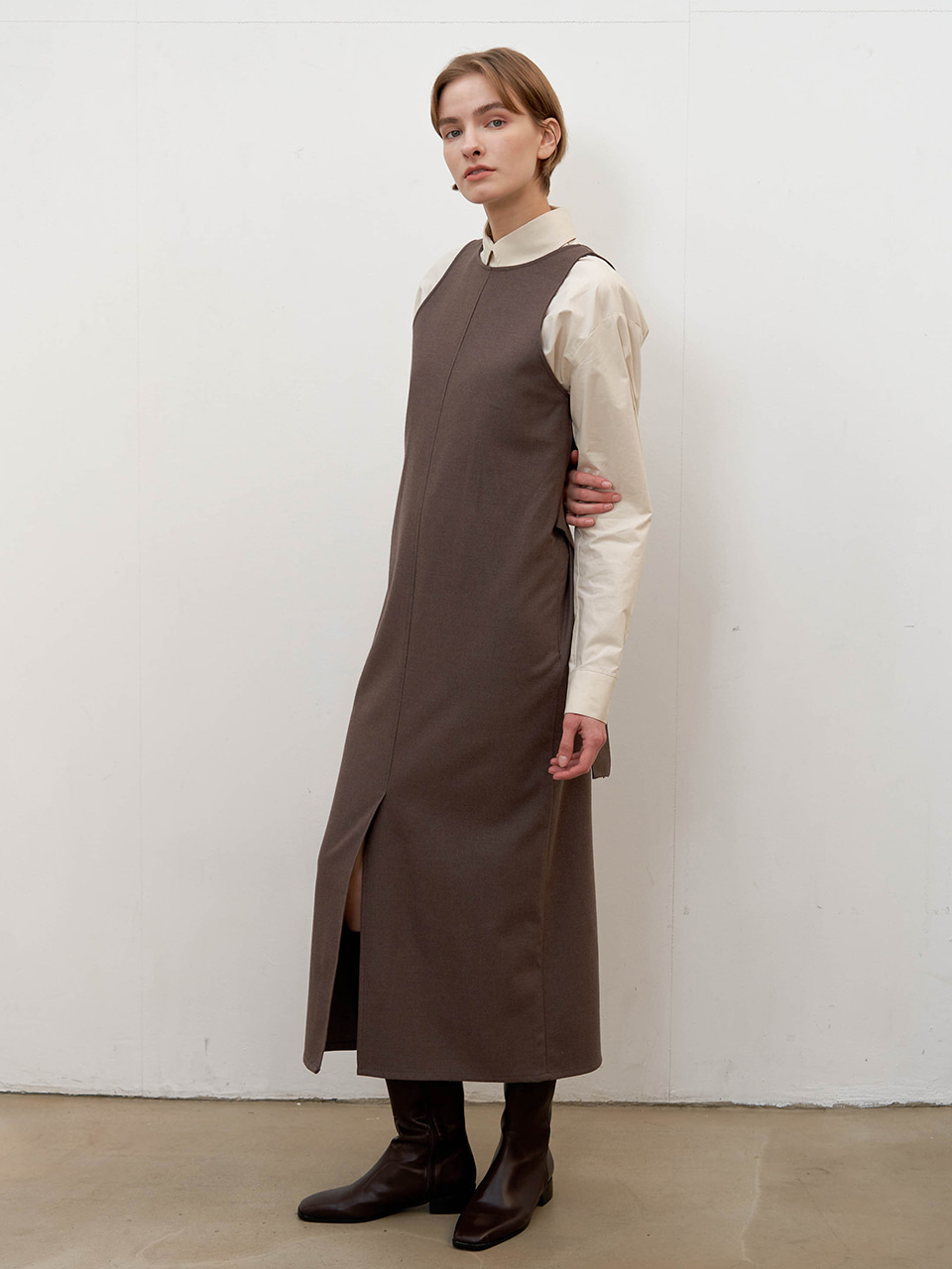 Reversible vest dress - Mocha brown