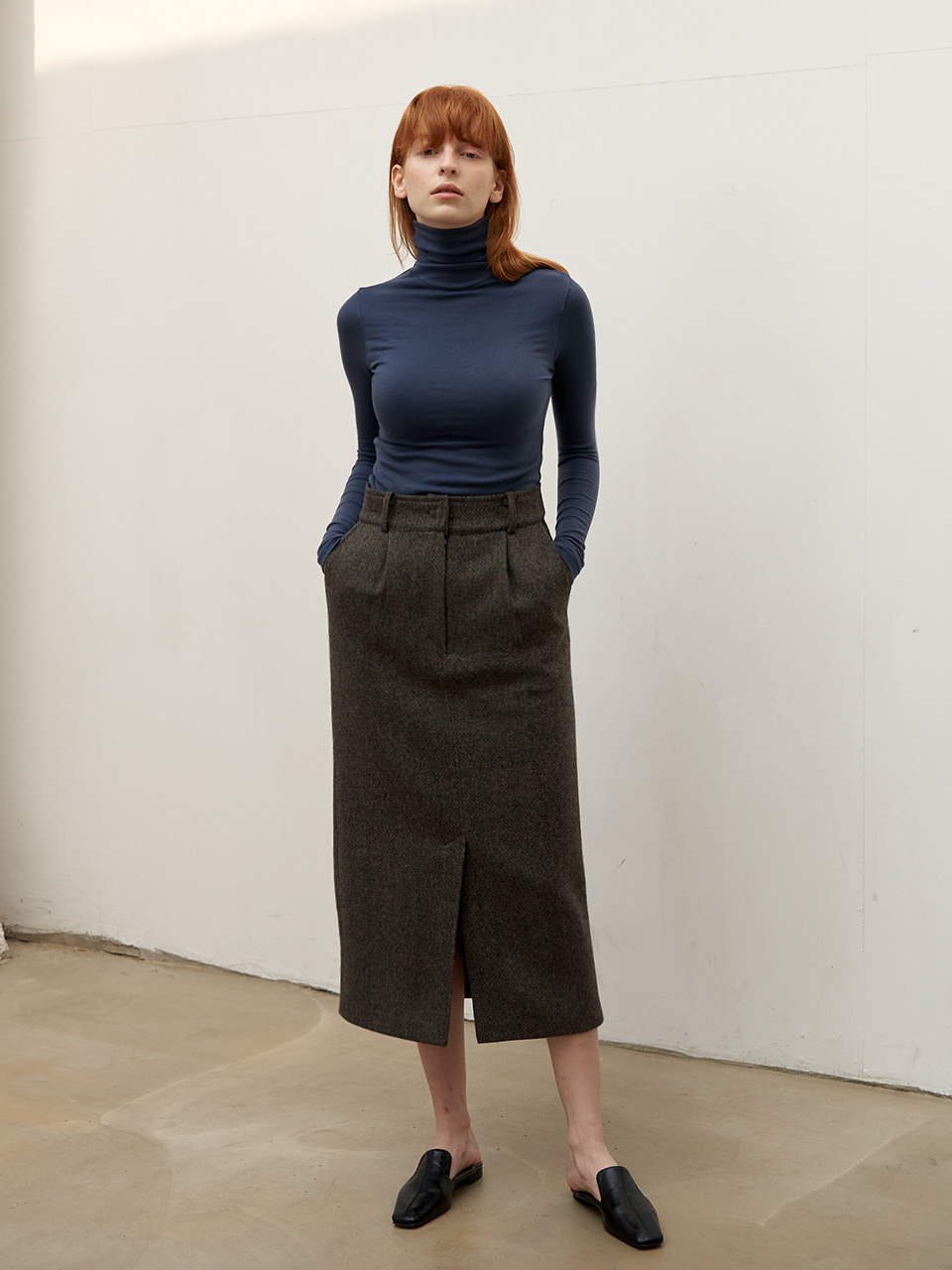 Classic wool skirt - Khaki Brown