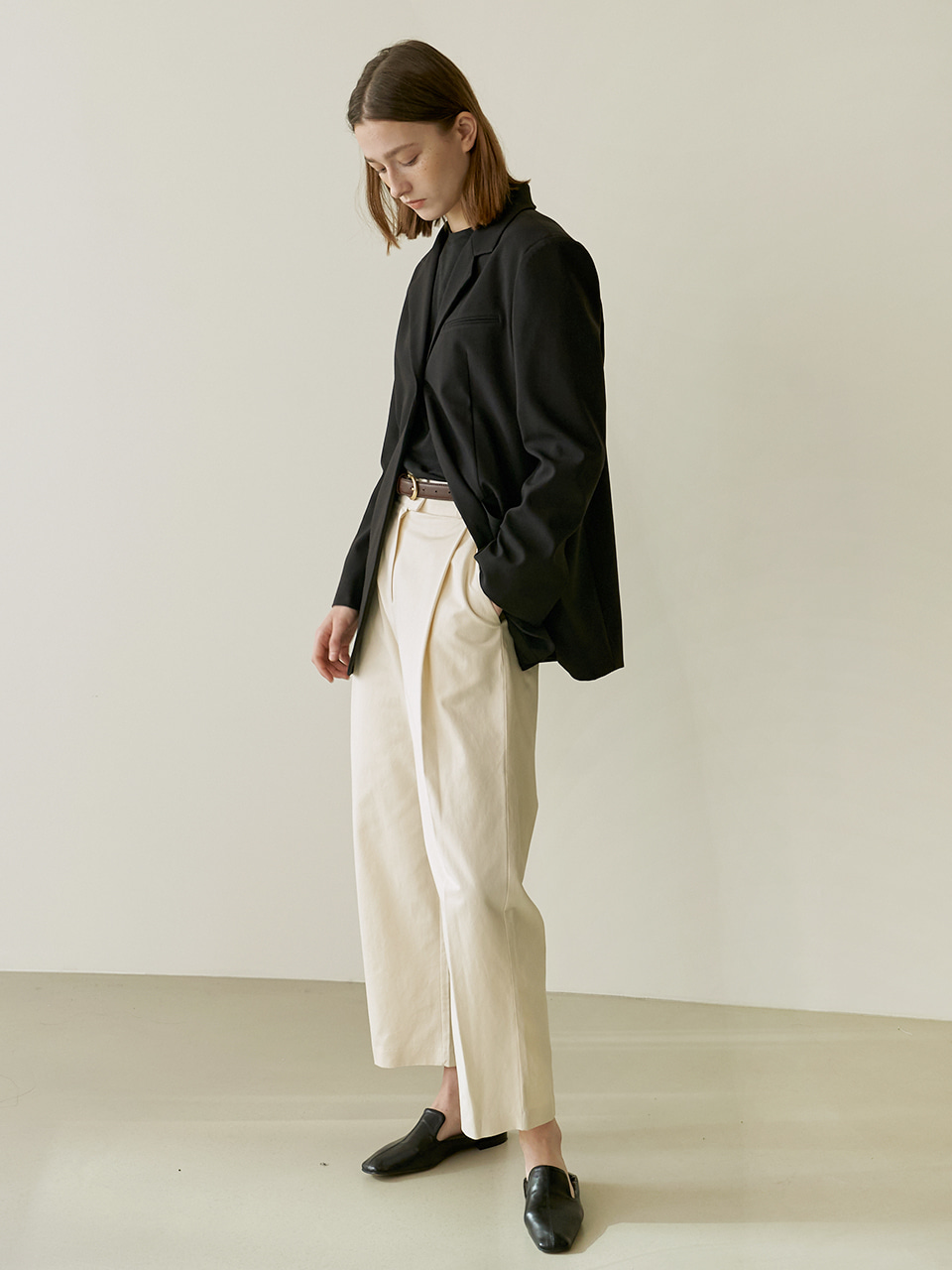 Cotton tuck pants - Cream