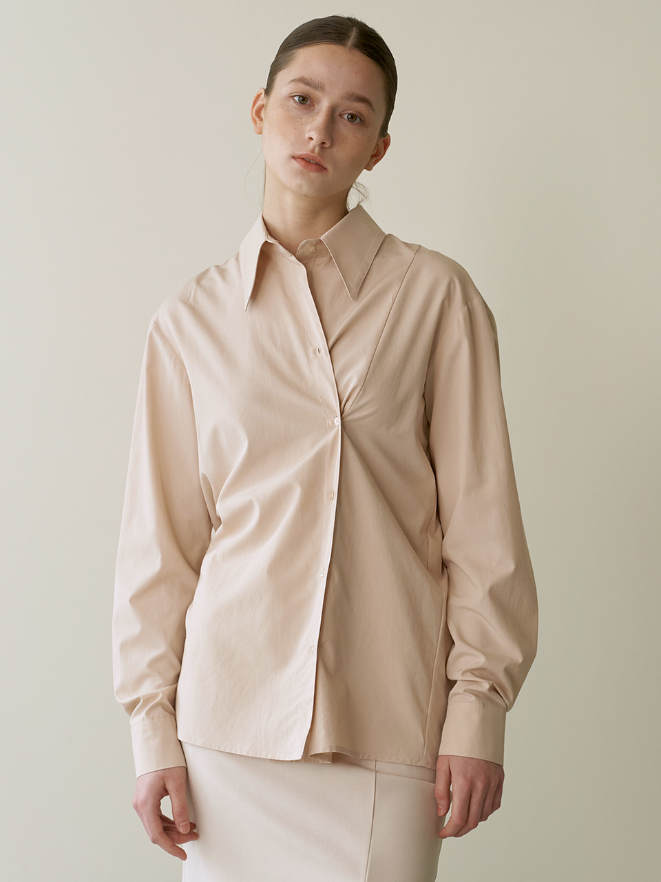 Button wrap shirts - Beige