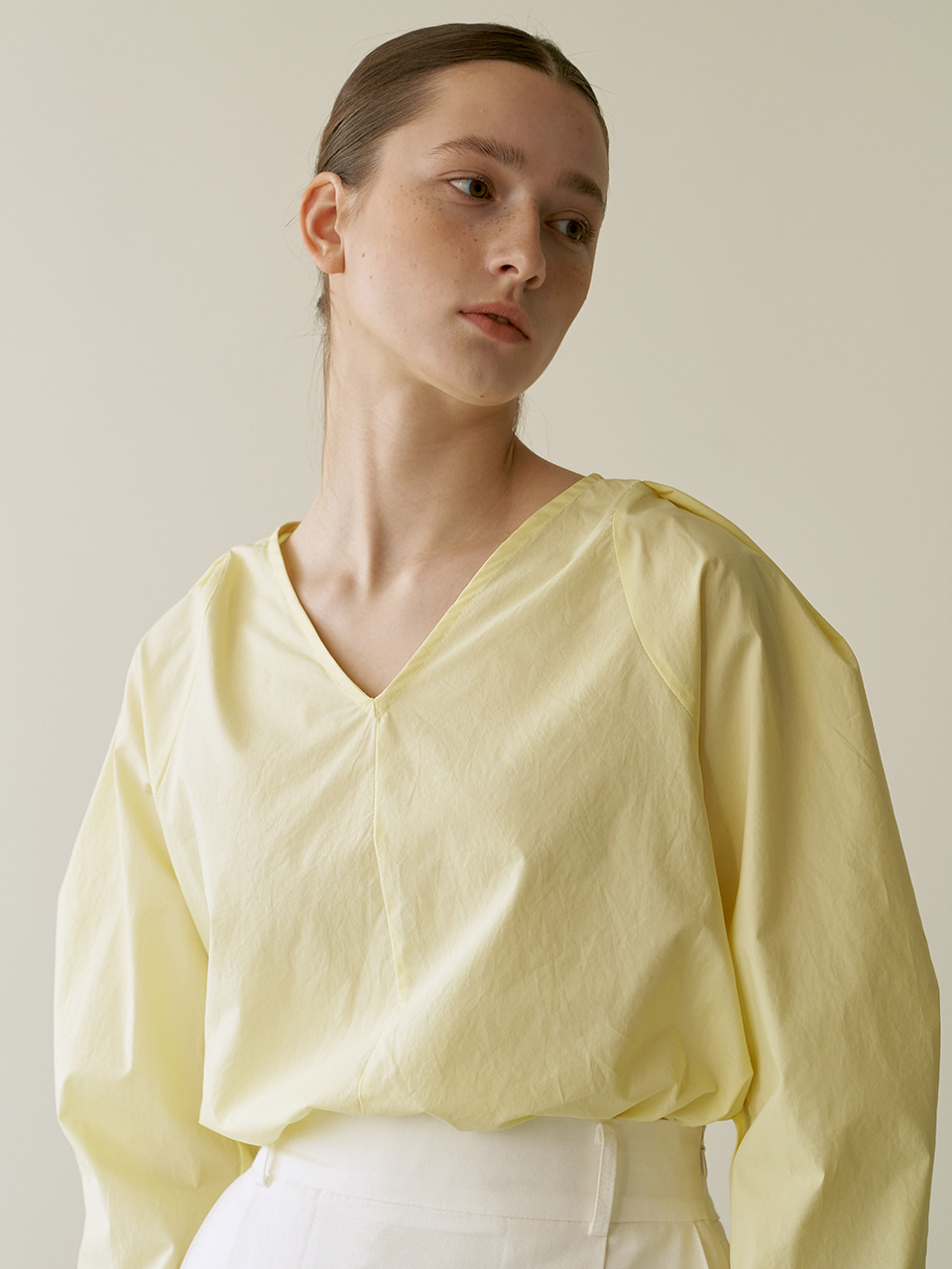 Volume cotton blouse - Yellow