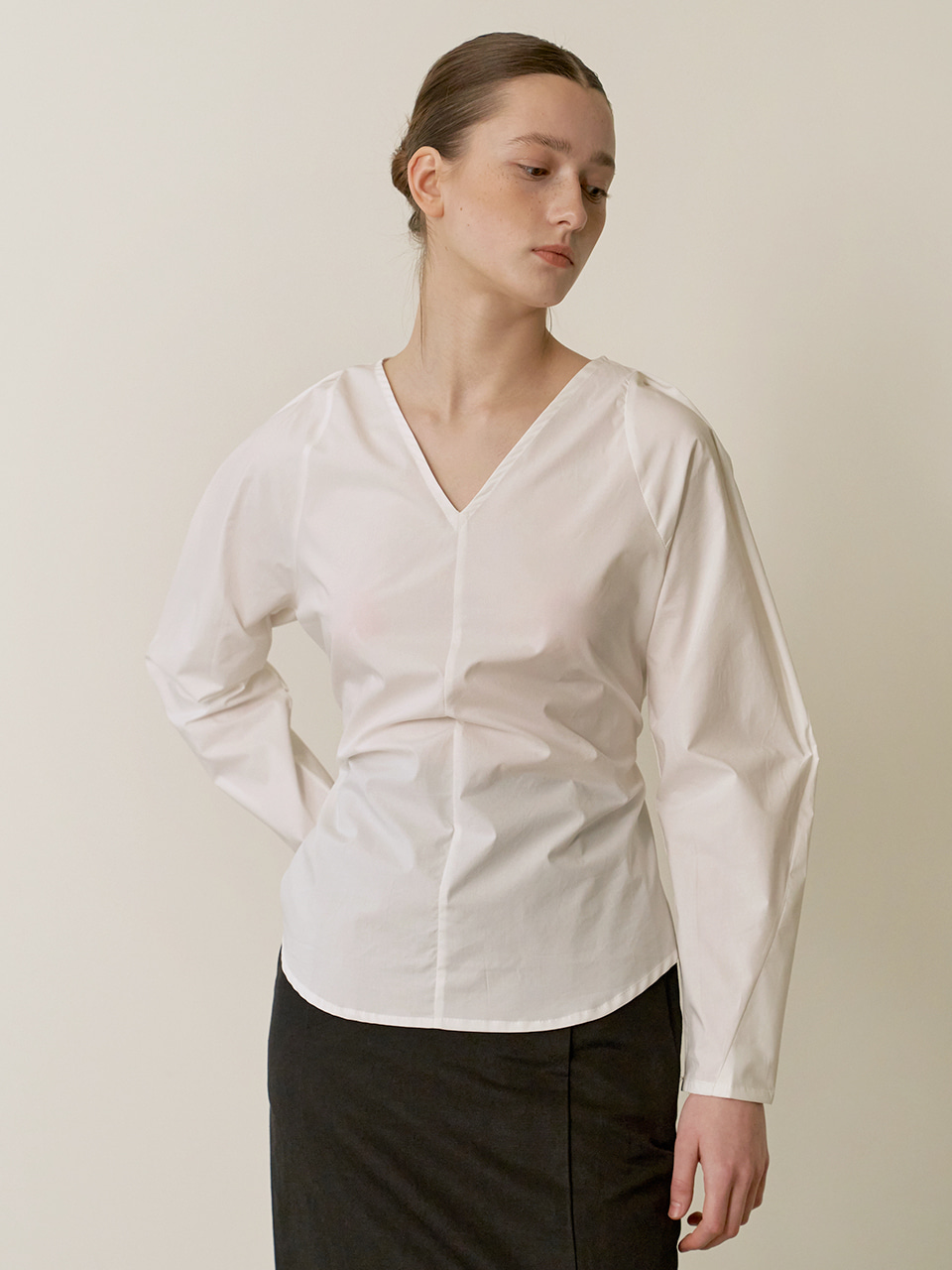 Volume cotton blouse - White