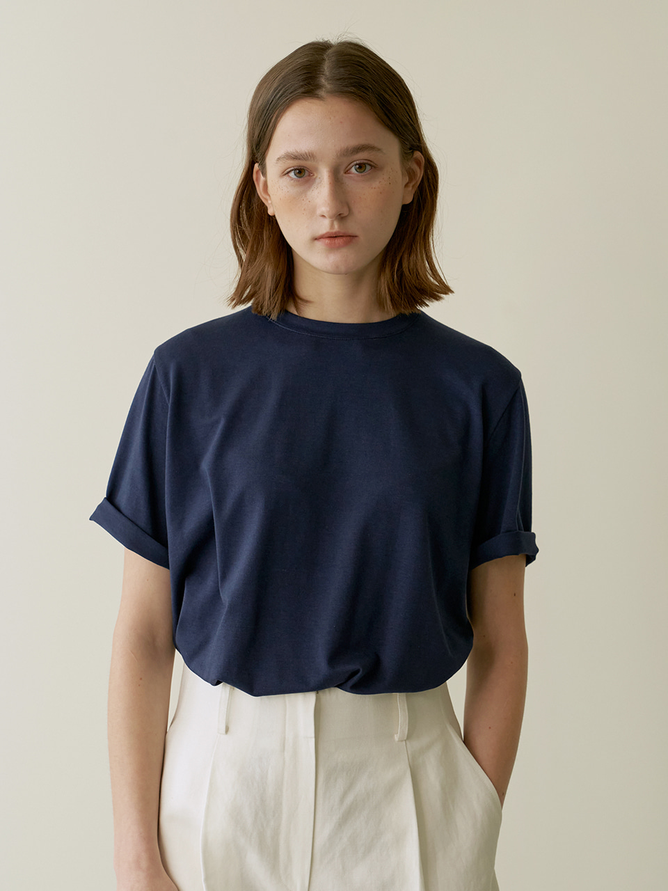 Daily slit T-shirt  - Navy