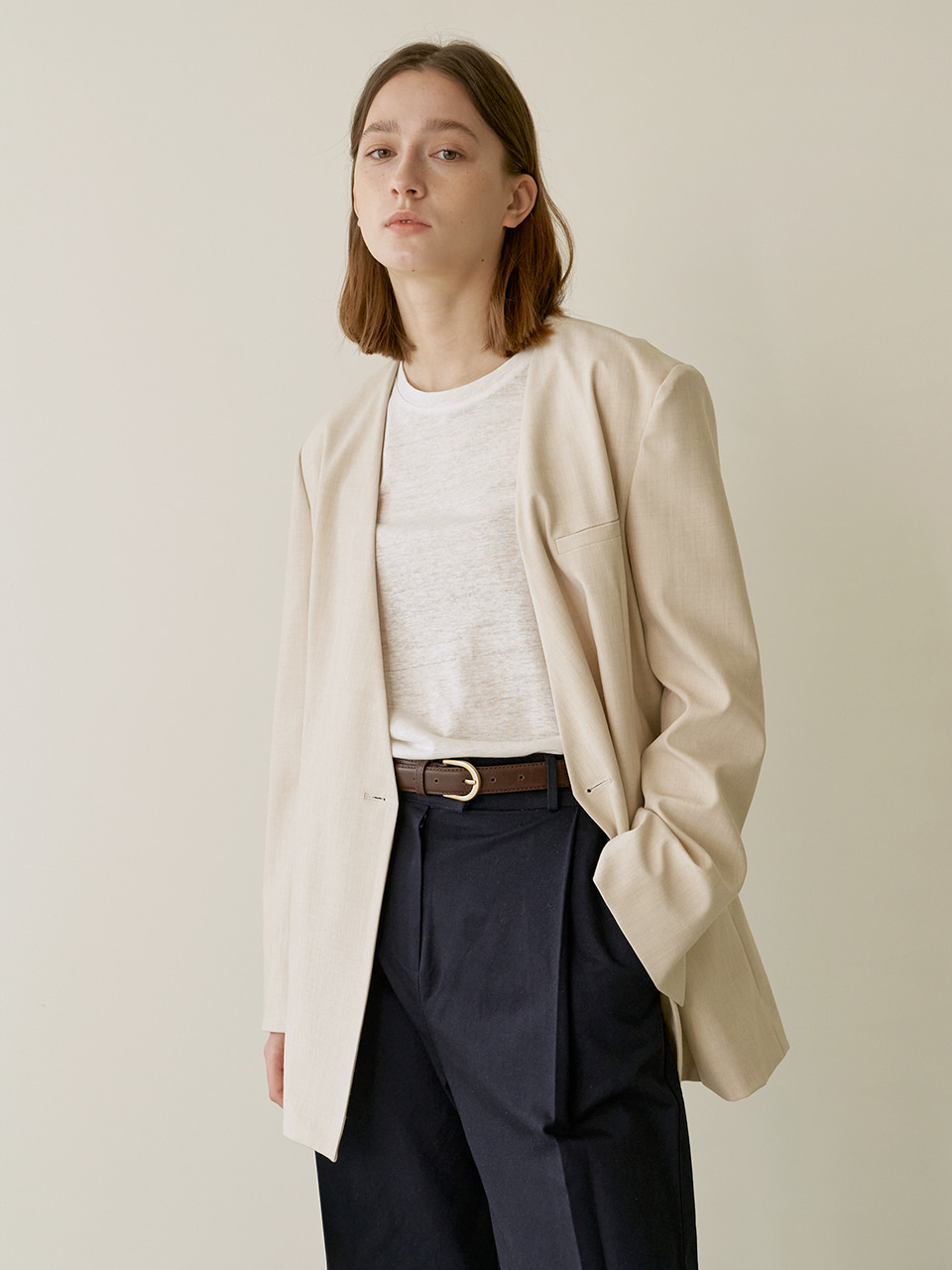 Collarless jacket - Beige