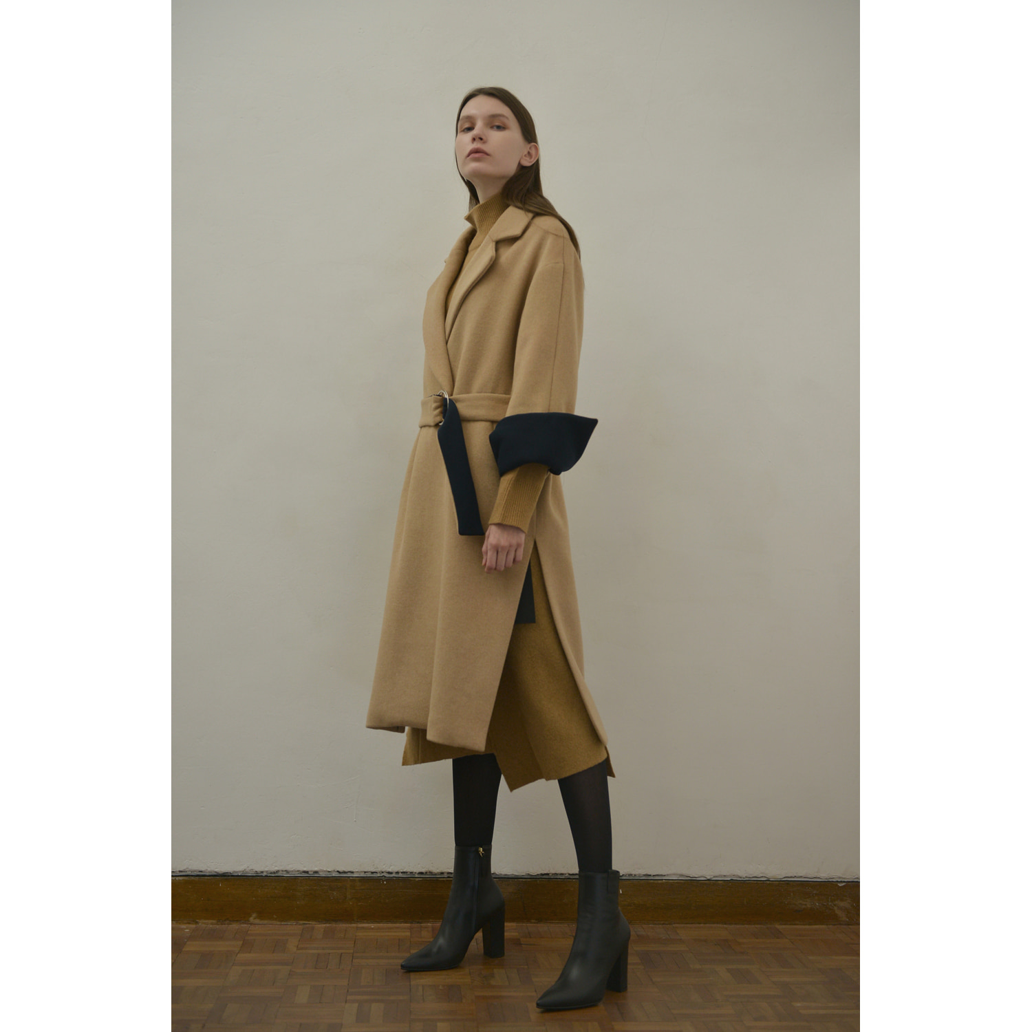 Belt Double Coat - Beige