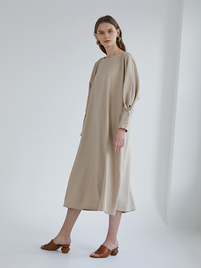Twoway Button Dress - Beige
