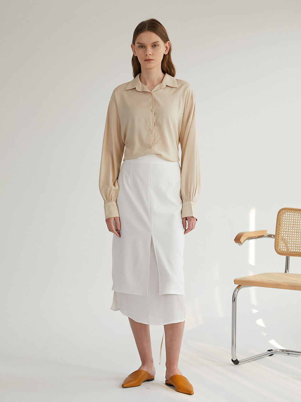 Slit Layered Skirt - White