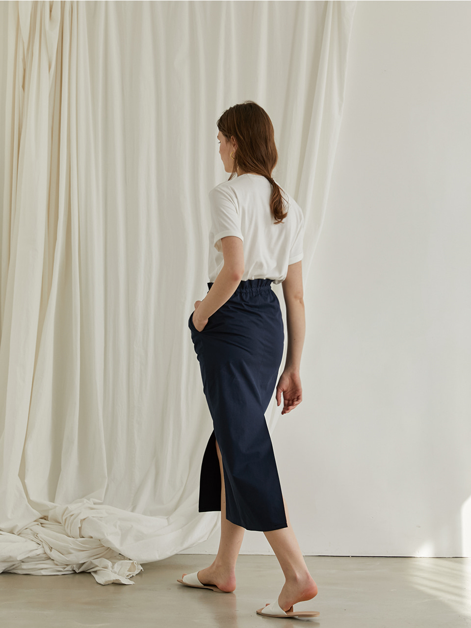 Cotton shirring skirt - Navy