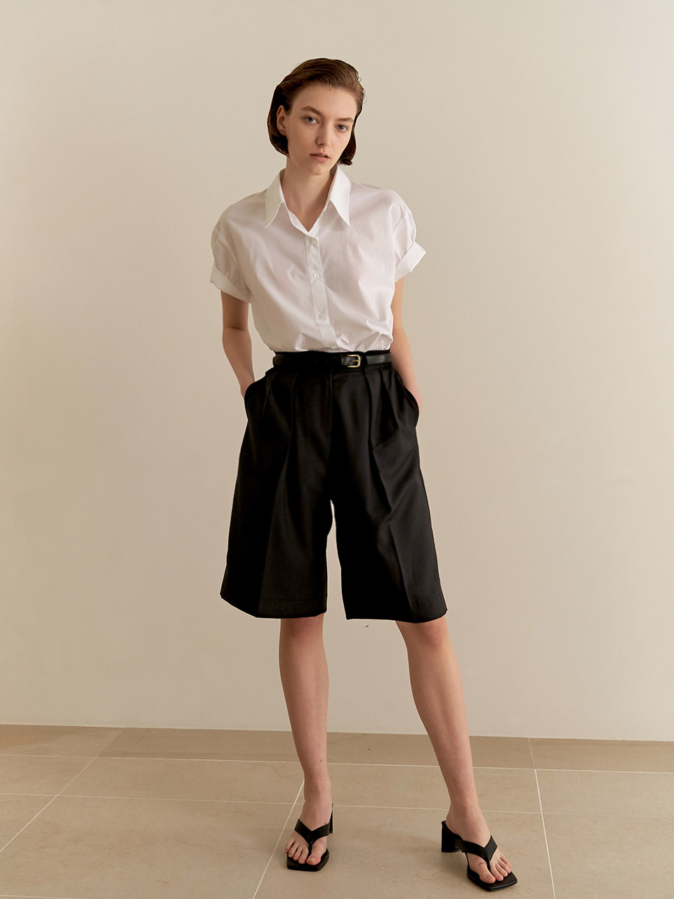 [8/20순차출고]Half cotton shirt - white