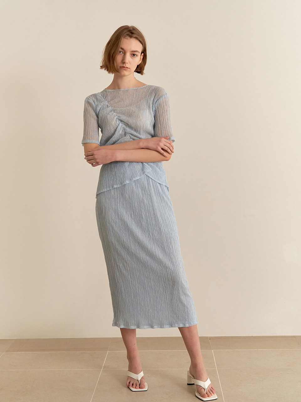 Soft wrinkle skirt - blue