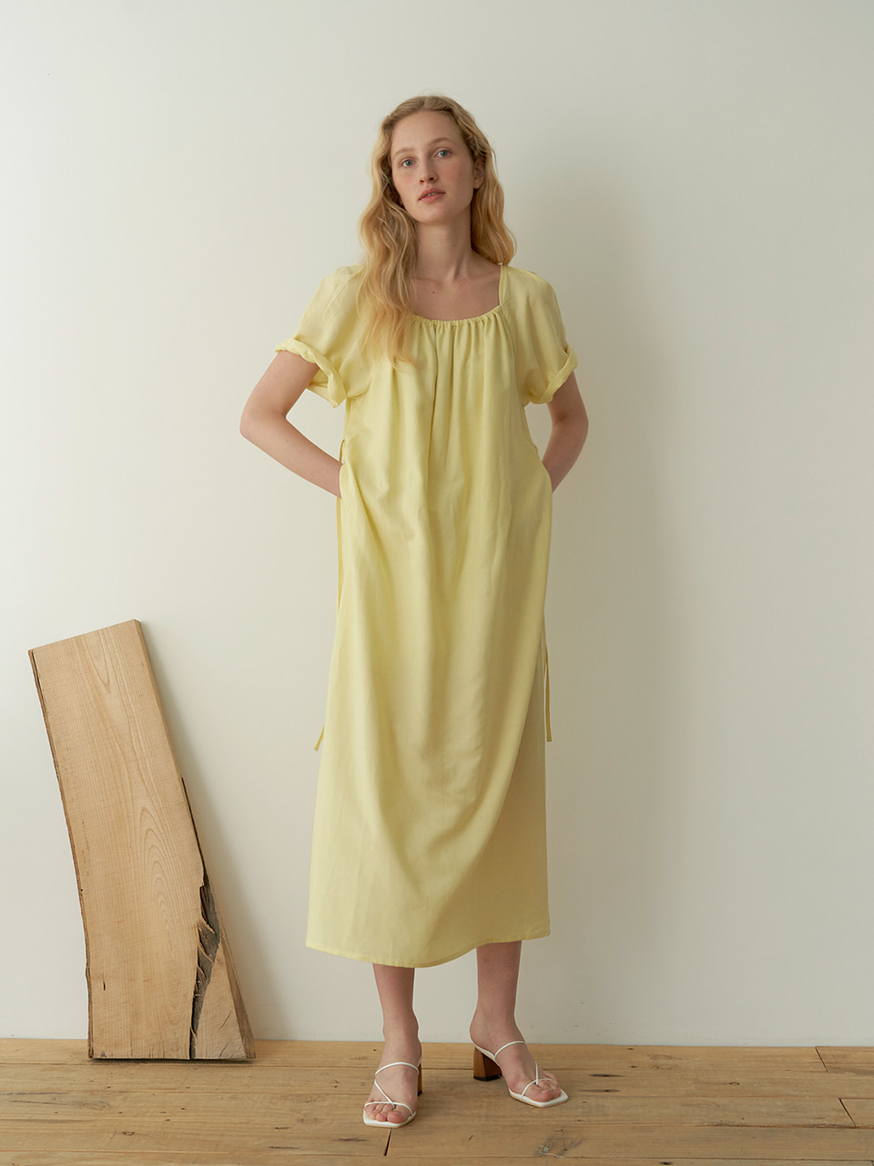 Puff shirring dress - Yellow