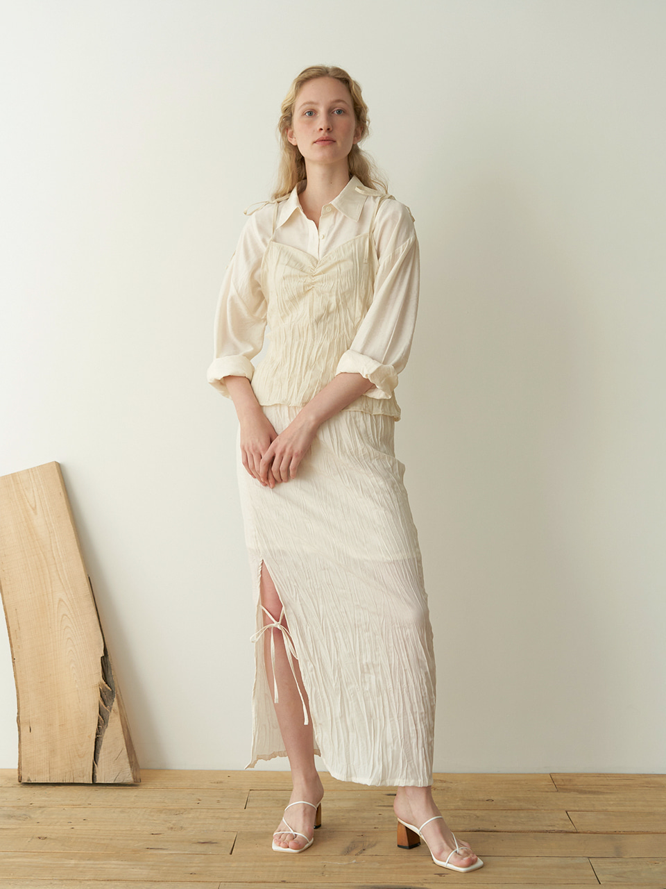 String wrinkle sleeveless - Beige