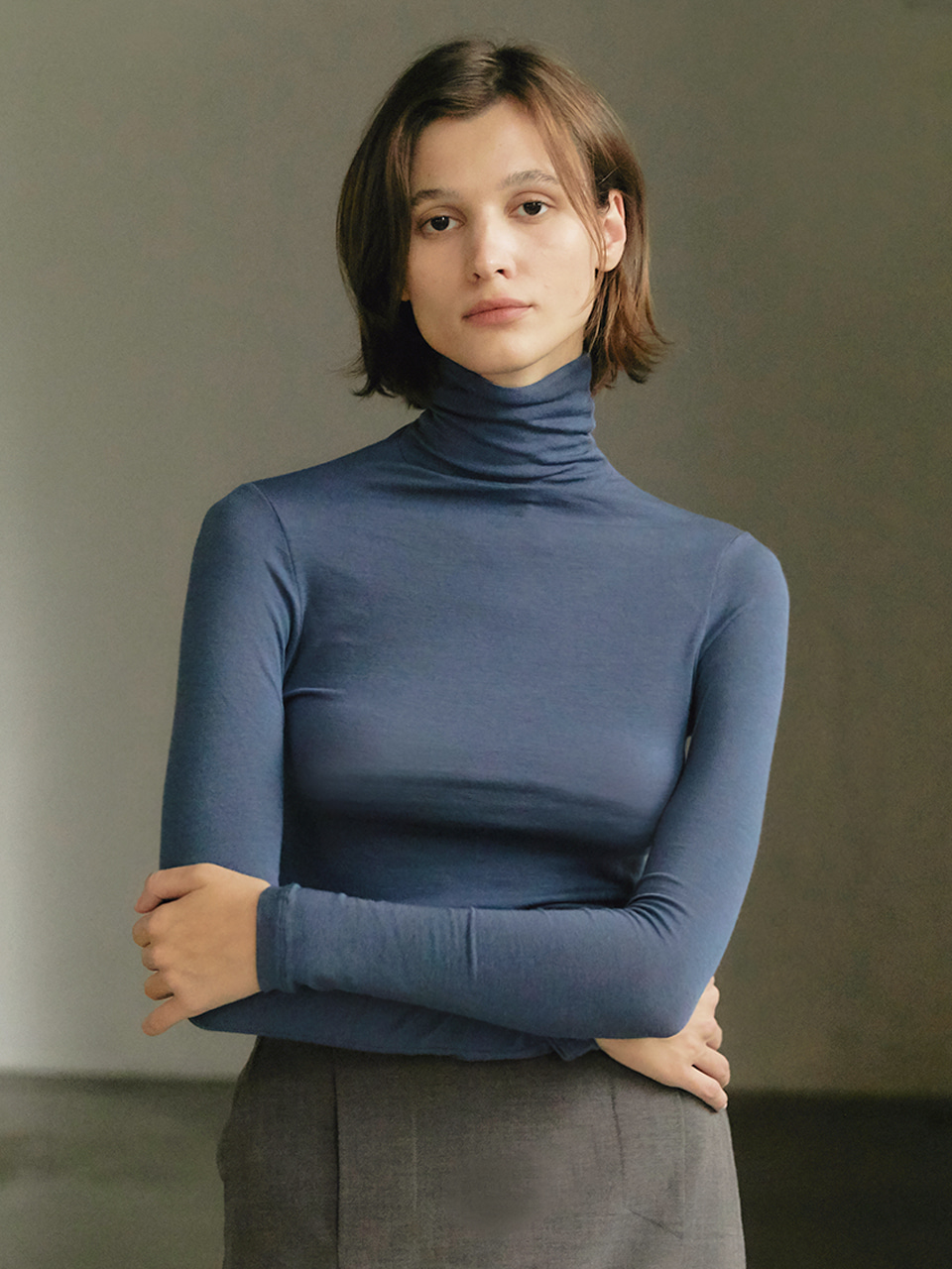 Tencel turtleneck - Blue